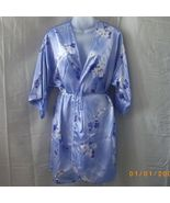 Silky size medium short blue robe with purple a... - $10.00