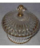 Clear Glass Gold Trim Pressed Covered Candy Bowl - $12.95