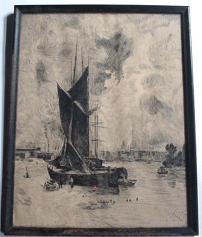 Antique Pen & Ink Drawing Beached Sailboat Harbor Sail Boat Ship By D.G. Poland