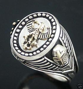 10 Karat Gold German eagle Mens Oval silver Signet ring
