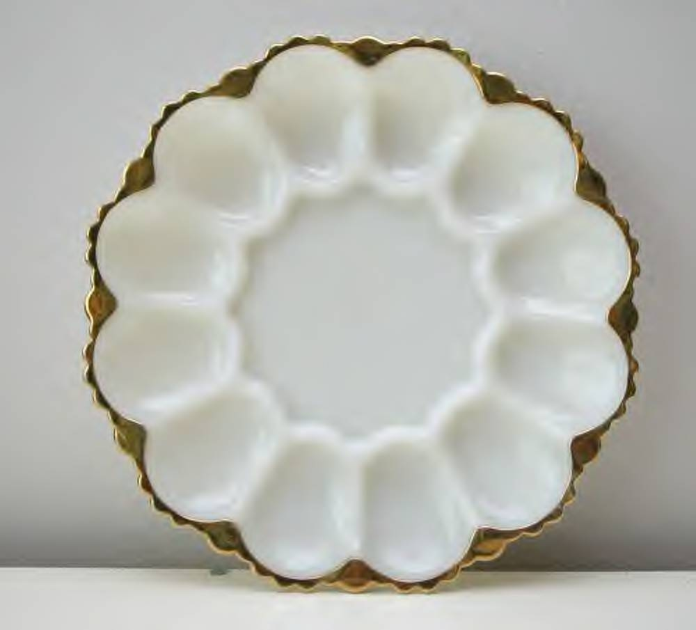Vintage White Milk Glass Deviled Egg plate with gold trim.