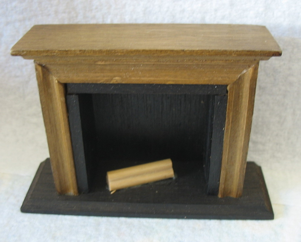 Doll House Wood Fireplace Set, Logs, Andirons, and Tools