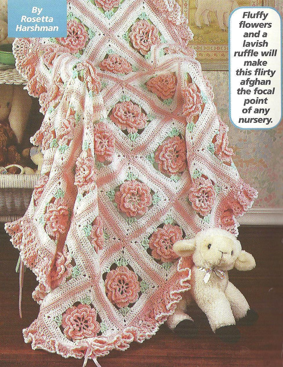 Ruffles u0026 Roses Baby Afghan~Birthday Cake crochet Patterns - Afghans