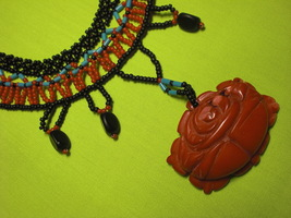 Large coral rose stone. Indian seed bead bib necklace.  -