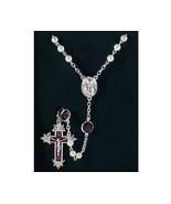 Channel Rosary Amethyst Swarovski Crystal Pearl... - $59.99