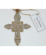 Ivory Cross Ribbon Bookmark Ornament Rhinestone... - $16.99
