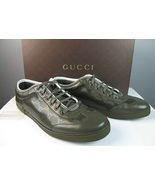 $465 GUCCI GG PLUS LOGO COATED GREEN LEATHER CANVAS SNEAKER SHOES 10.5D Preowned