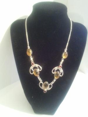 Necklace: Citrine & Orange Quartz Gemstone Silver Necklace