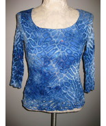 Dressbarn Blue Knit Sparkle Lace Top Sz Small - $14.00