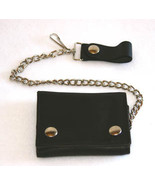 Black Leather Trifold Wallet Hip Chain Large Bi... - $25.99