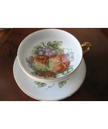 Cup and Saucer Hand Painted Fruit Bouillon Fine... - $17.00