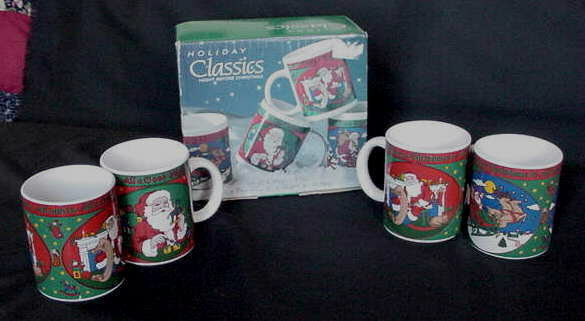 Unused Vintage Stoneware Christmas Mugs Sign Van Beers