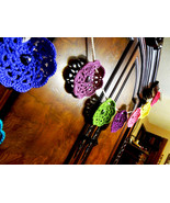 Crochet Big Lacy Floral Colorful Bunting Banner... - $18.95