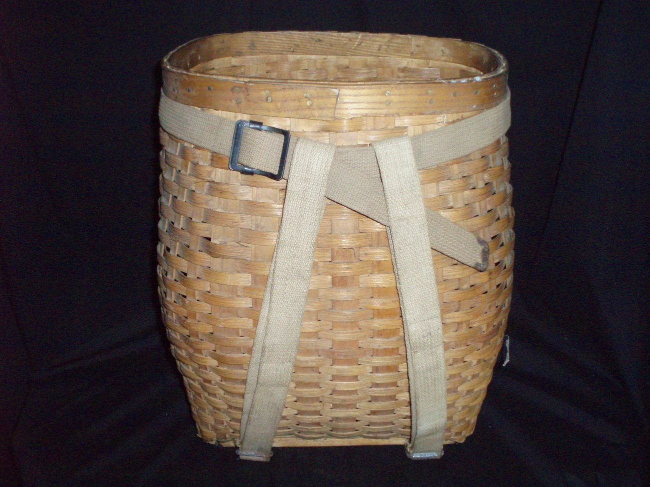 vintage woven wood slat pack basket LL Bean hike fish picnic