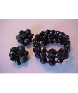 Vintage West Germany Black Faceted Bead Bracele... - $15.00