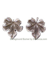 Vintage Retro NAPIER Sterling Silver Leaf Earrings - $26.00