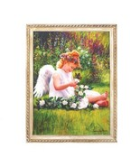 Angel Girl Sitting In The Garden Fabric Wall Print - $17.50