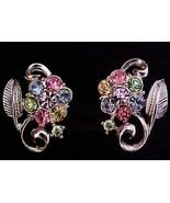 Coro Pastel Multi-Color Flower & Leaf Earrings ... - $8.50