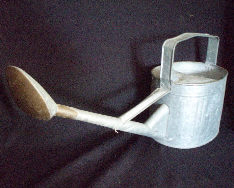 Vintage metal watering can brass head gardening tool for Gardening tools watering