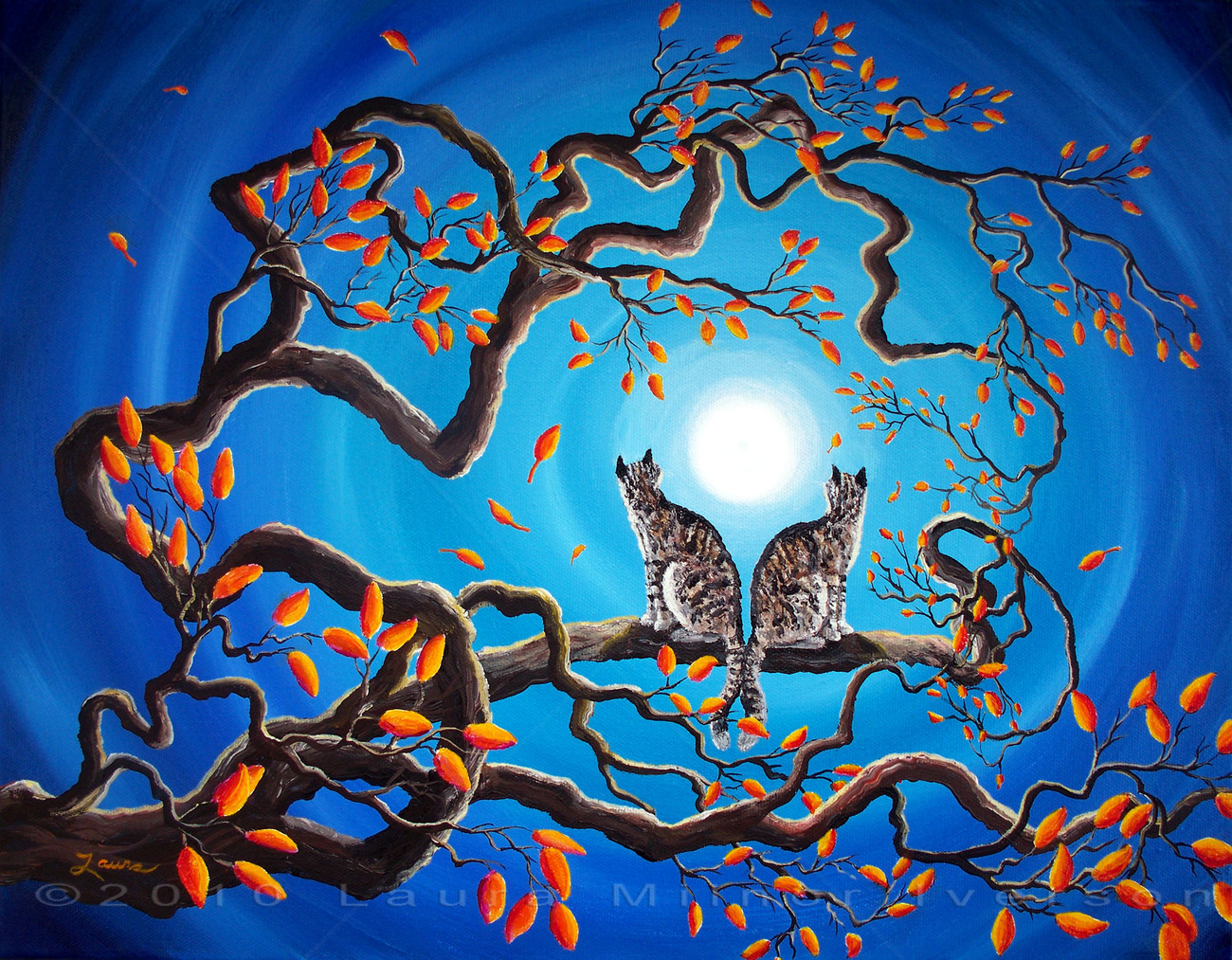 Gray Tabby Cats Blue Moon Autumn Tree Branch Zen Art Surreal Original Painting