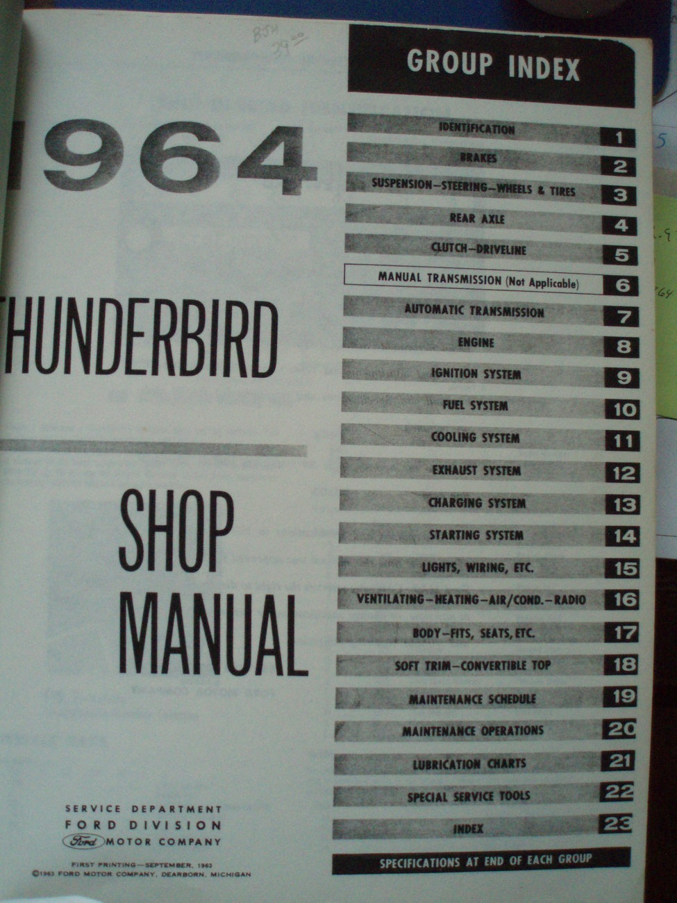 1964 Ford Thunderbird shop manual original 1st edition print