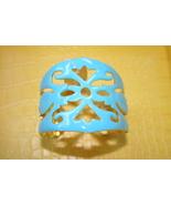 Amrita Singh Moroccan turquoise aqua enamel cuf... - $32.00