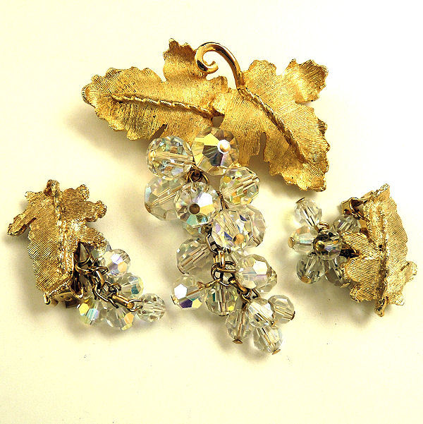 Crystal Dangle Brooch Earrings Set Demi