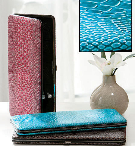 Snakeskin Skinny Jewelry Cases  Turquoise