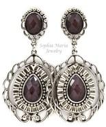 Black filigree tear drop faceted bead fashion e... - $10.88