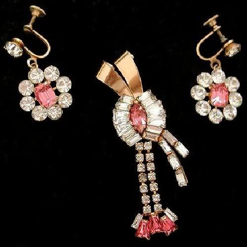 Vintage PHYLLIS Pink Rhinestone Brooch Pendant Earrings