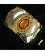 Vintage Wide Cuff Bangle Bracelet Glass Cabochon  - $44.95