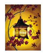 Japanese Iron Lantern Burgundy Autumn Leaves Ye... - $299.00