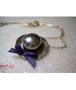 Vintage silver hat with navy blue ribbon neckla... - $5.00