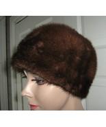Vintage med brown mink fur women pillbox hat xx... - $106.95