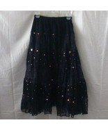 New full long black cotton skirt with lace and ... - $15.00