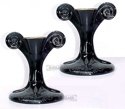 Fostoria  Ebony Black Glass SAKIER Candlesticks DECO Fern