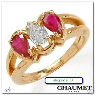 CHAUMET Paris designer bague or 18K DIAMANT RUBIS T49