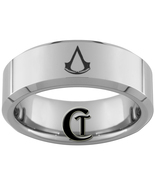 8mm Beveled Tungsten Carbide Assassins Creed De... - $49.00