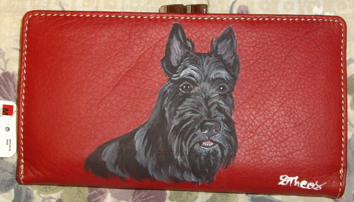 Scottish Terrier Dog Custom Painted Ladies Wallet