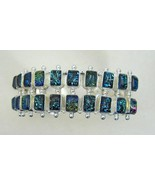 Midnight Blue Dichroic Glass Rectangles Sterlin... - $140.13