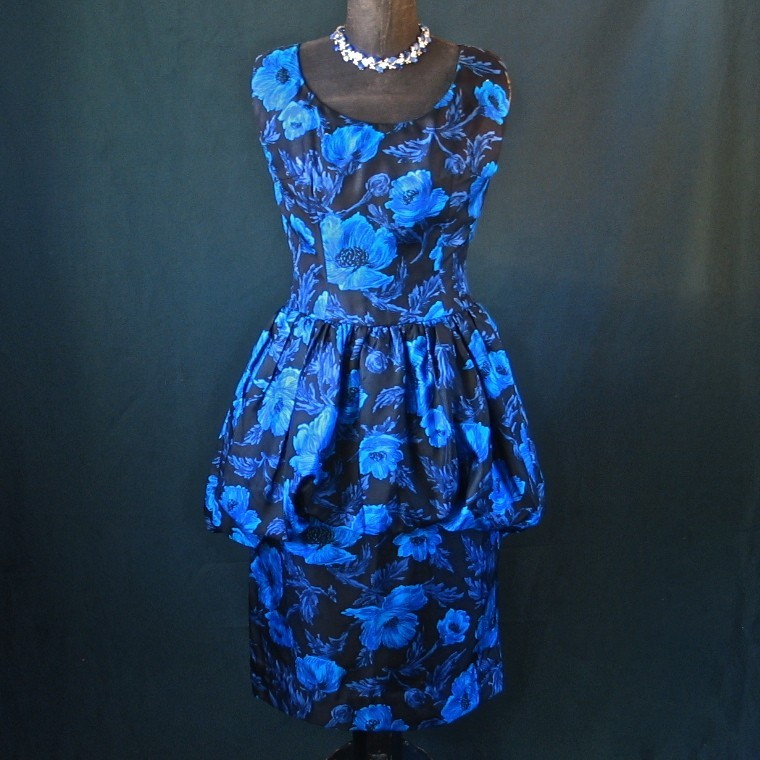 Blue Peonies Silky Mad Men Wiggle Dress with Pouf