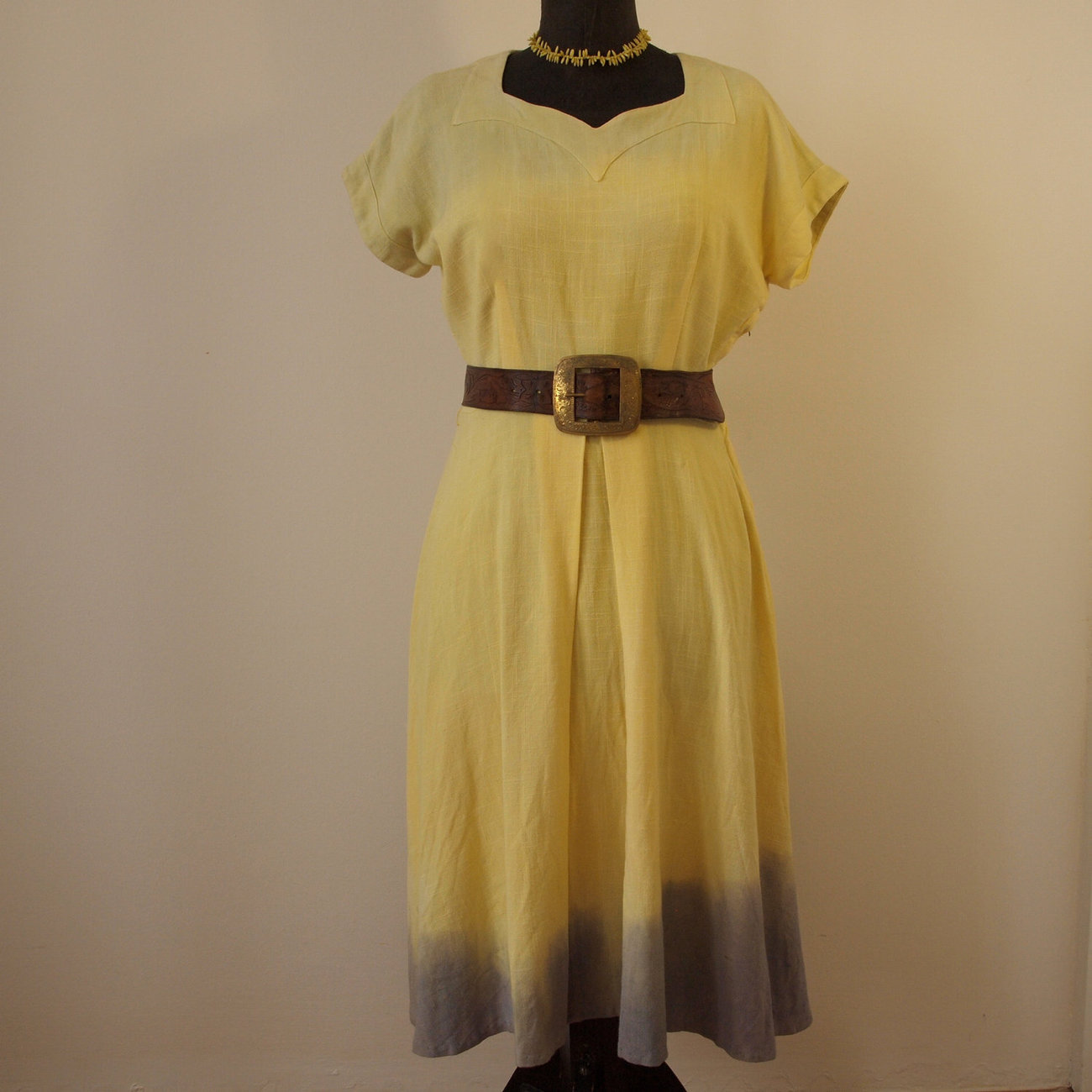 1940's Hand Dyed Sunrise Ombre Cotton Linen Day Dress