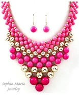 High Fashion necklace set fuchsia pink gold for... - $16.82