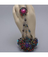Statement hand chain colorful flower hinged bra... - $22.02