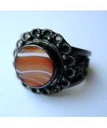 Vintage Sterling Silver Ring Butterscotch Agate... - $20.00
