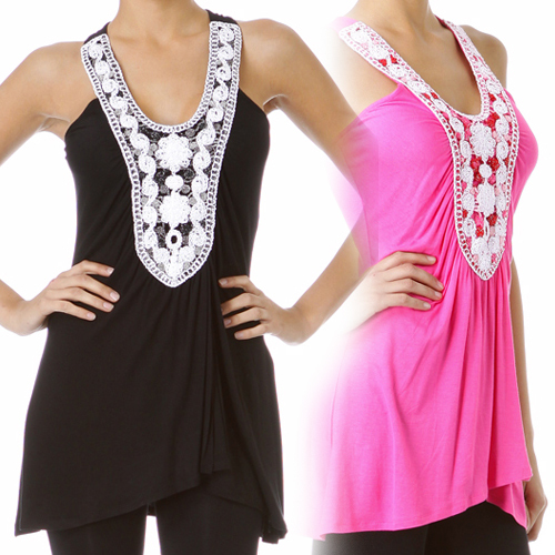Womens BLACK Sleeveless TOP White Embroidery SMALL Sm