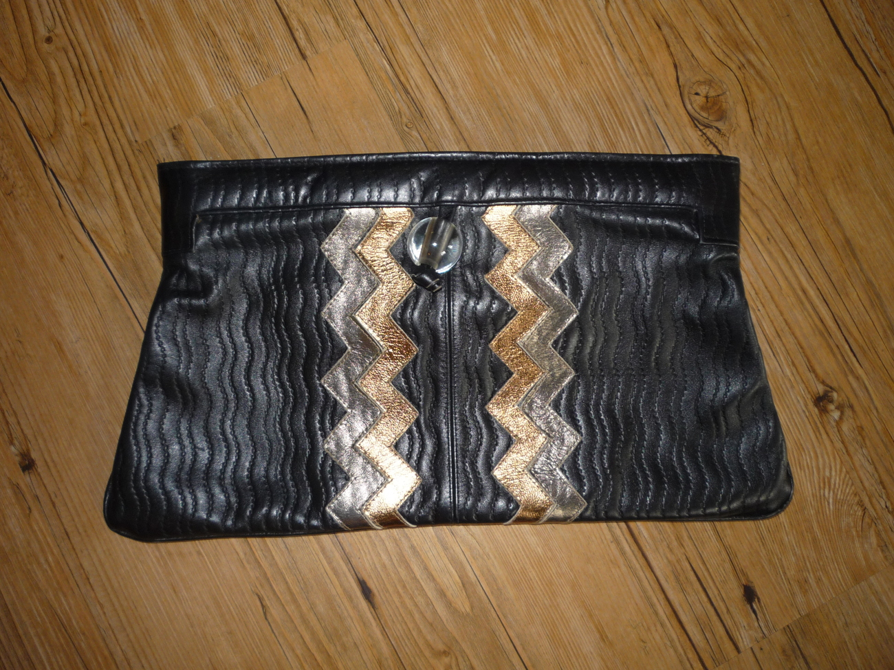 Black Leather Timmy Woods 1977 Beverly Hills Large clutch $50.00