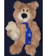 Dan Dee Teddy Bear Blue Snowflake Scarf Holding... - $26.50