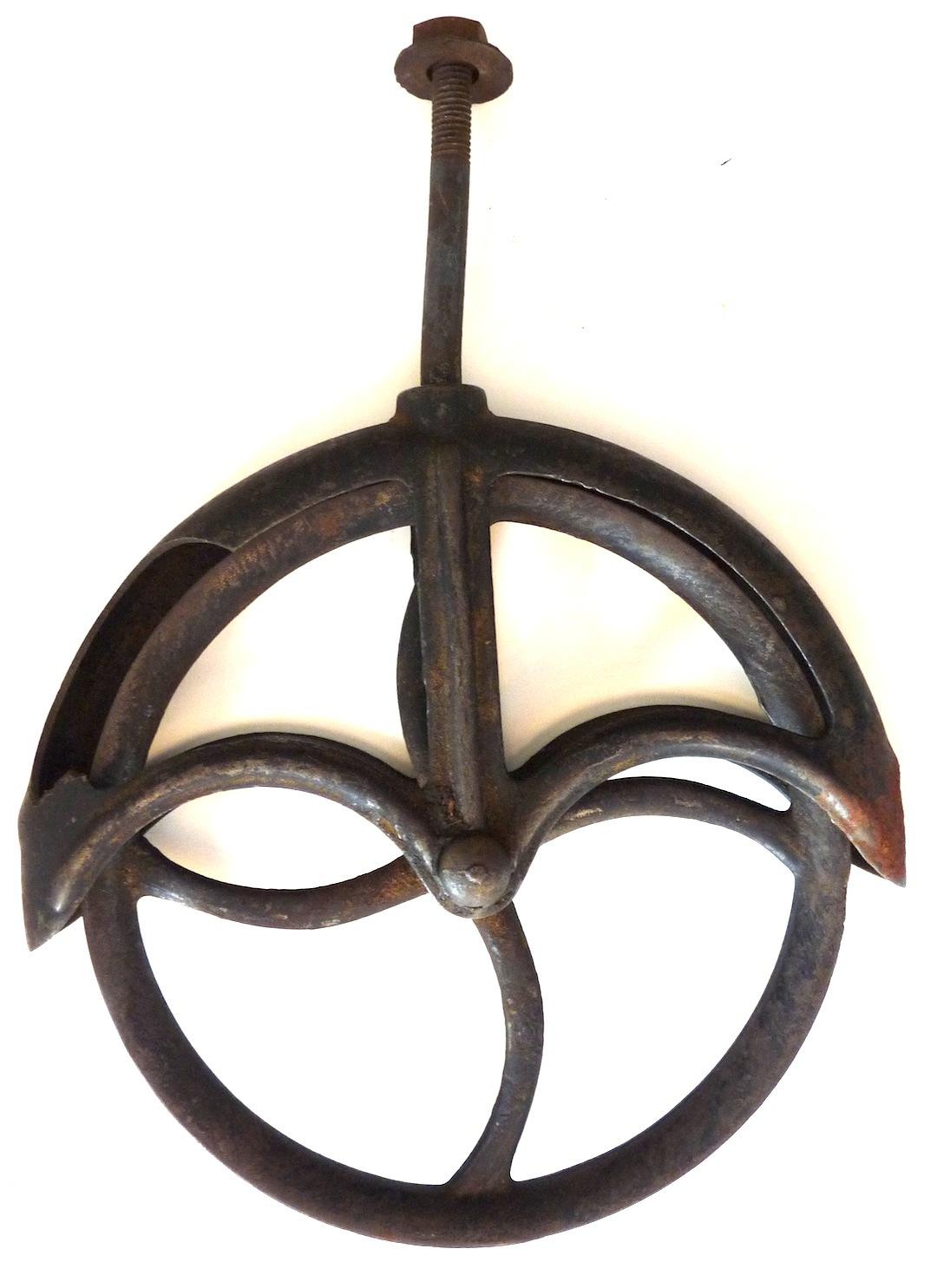 Antique vintage cast iron pulley wheel farm industrial ...