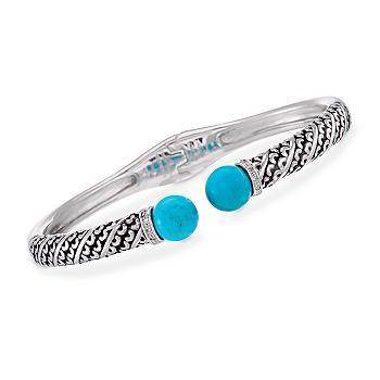 STERLING SILVER BALI TURQUOISE & DIAMOND BANGLE BRACELET NEW SOLD OUT !